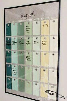 DIY Crafts : D. project: Find a frame from the dollar store, use paint swatches for the b DIY Crafts : D. project: Find a frame from the dollar store use paint swatches for the b Dollar Store Crafts, Dollar Stores, Dollar Store Hacks, The Dollar Store, Dollar Dollar, Paint Chip Calendar, Diy Calendar, Dry Erase Calendar, Chalkboard Calendar