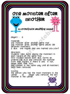One Monster AQfter Another Coordinate Graphing Game product from Teaching-Junkie on TeachersNotebook.com