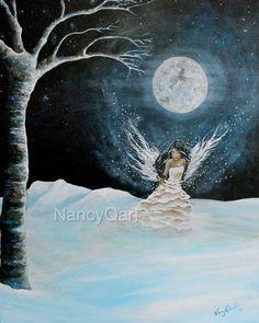Original fairy painting  Winter fairy  Fantasy art  by NancyQart