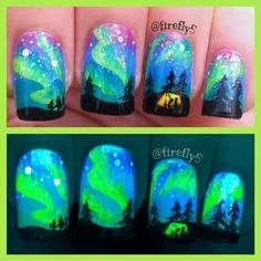 Awesome glow in the dark  nails... camping under the northern lights