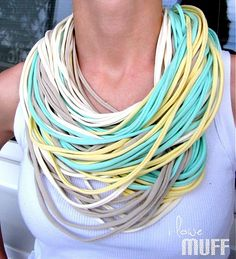 pastel spaghetti scarf Turquoise Necklace, Spaghetti, Scarves, Pastel, Eye, Womens Fashion, Projects, How To Make, Scarfs