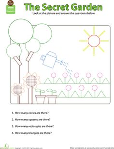 First Grade Geometry Worksheets: Shapes in Pictures: Secret Garden