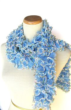 Blue Hand Knit Ruffled Scarf by ArlenesBoutique on Etsy, $35.95