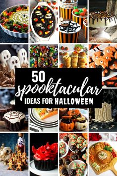 In a year like no other, Halloween will look a little different, but that's all the more reason to create new memories and fun times! Scare up some smiles this Halloween with 50  Spooktacularly Cute and Easy Halloween Treats and Party Recipes. There's something for everyone here, and I'm sure some of these recipes will become your favorite Halloween treats too! Easy Halloween Food, Halloween Appetizers, Halloween Kids, Halloween Treats, Halloween Party, Easy Holiday Recipes, Party Recipes, Food Themes, Food Ideas