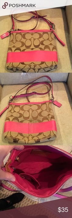 Purse Coach pink shoulder bag. Slight discoloration on back side from rubbing on jeans. Coach Bags Shoulder Bags