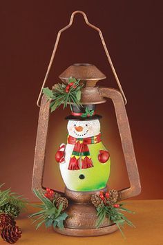 Lighted Holiday Snowman Lantern
