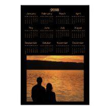 Lovers at Orange Sunset Lake 2018 Calendar Poster