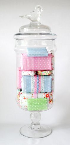 Wrap boxes in fun paper to fill jar.  Could be decor, or filled with gifts for holiday.