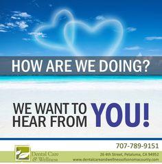 Review Us! http://www.dentalcareandwellnessofsonomacounty.com/social-media/index.html #DentistPetaluma #HolisticDentist #SafeDentistry