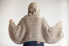Plus Size Knitting Sweater Capalet with Hoodie Over Size by afra # beige cable knit sweater Tweed Beige Angel Sweater Capalet with Hoodie - Over Size Plus Size Tweed Beige Cable Knit by Afra Mode Crochet, Hand Crochet, Hand Knitting, Knit Crochet, Tweed, Knitted Poncho, Knit Fashion, Cable Knit Sweaters, Crochet Clothes
