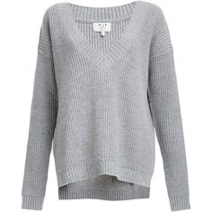 Six Crisp Days V-Neck Knit Pullover Sweater ($71) ❤ liked on Polyvore featuring tops, sweaters, grey, v-neck tops, grey sweater, gray pullover sweater, pullover sweater and grey v neck sweater