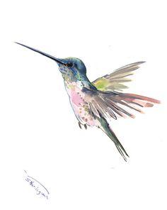 Hummingbird painting, 14 x11 in,zen painting bird, minimalist wall art, hummingbird gift, Hawaii tropical art
