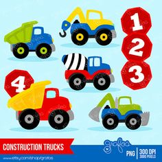 CONSTRUCTION TRUCKS digital clipart, Trucks clipart, Construction  clipart