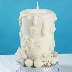 Candle Cake Winter Candle Cake · Candle Making Christmas Cake Designs, Christmas Cake Decorations, Holiday Cakes, Christmas Desserts, Christmas Treats, Christmas Baking, Christmas Cakes, Christmas Candle, White Christmas