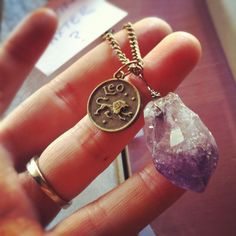 Amethyst necklace with zodiac sign!