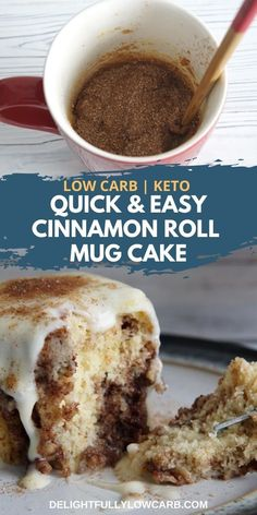 This Cinnamon Roll Mug Cake is a delicious keto version of your favorite breakfast roll, drizzled with cream cheese glaze. Low Calorie Mug Cake, Low Carb Mug Cakes, Easy Mug Cake, Keto Mug Cake, Mug Cake Healthy, Low Carb Deserts, Low Carb Sweets, Easy Cake Recipes, Dessert Recipes