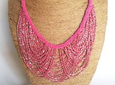 Pink Necklace/Statement Necklace/Bohemian by Magicstring on Etsy