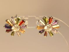Stud Earrings, Mix Color Flower Cubic zirconia, White Gold plated in Jewelry & Watches | eBay