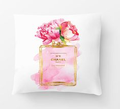 pillows with filling Watercolour Chanel by hellomrmoon Cute Pillows, Diy Pillows, Cushions, Throw Pillows, Chanel Bedroom, Coco Chanel Fashion, Condo Bedroom, Bedroom Decor, Gold Foil Print