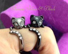 Chrome Dark Silver or Black Kitty Cat Ring Swarovski Crystals Adjustable Free Size Wrap Ring Kitten