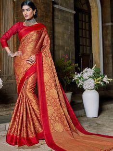 Red Banarasi Silk Saree with Zari