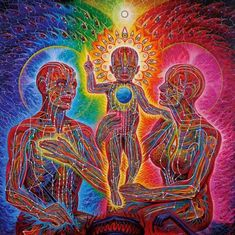 family souls love connected : alex gray anatomical rainbow art