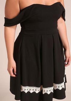 Plus Size Clothing | Plus Size Off Shoulder Crochet Flared Dress | Debshops