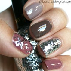Fall nails.- love the mix of colors and textures