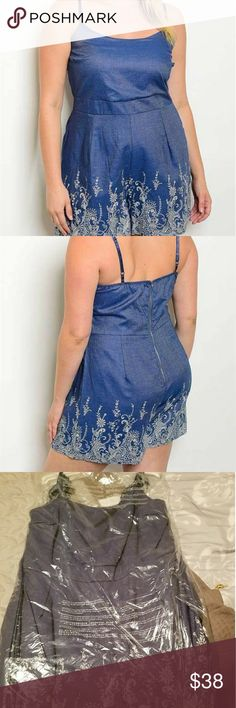 Plus size Romper Plus size spaghetti strap fitted waist crochet hem romper.  Fabric Content: 100% COTTON Size Scale: 1XL-2XL-3XL Made in the USA  All items 100% new purchased from manufacturer Jeanette Plus Other