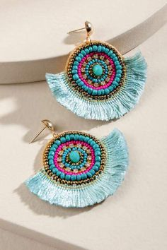 francesca's Casey Beaded Tassel Statement Earrings - Turquoise Flower Pot Art, Paper Crafts Origami, Vintage Clutch, Textile Jewelry, Bijoux Diy, Diy Crafts To Sell, Statement Earrings, Tassels, Jewelery
