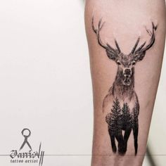 Double exposure stag tattoo by Janis