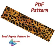 Leopard peyote bracelet pattern Miyuki pattern Beadweaving pattern Leopard print Beadwork pattern Seed bead bracelet Peyote PDF pattern by OksAnnaBeadPatterns on Etsy Diy Beaded Bracelets, Seed Bead Bracelets, Beaded Jewelry, Jewelry Necklaces, Jewellery, Bead Loom Patterns, Peyote Patterns, Beading Patterns, Schmuck