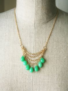 Gemstone Jewelry Gold Necklace Apple Green by laurastark on Etsy, $155.00