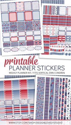 4th of July printable planner stickers weekly kit for use with Erin Condren LifePlanner, vertical. Click to see the product in my shop.