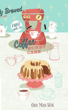 Coffee Bundt cake illustrated recipe freshly brewed coffee retro diner coffee machine Ohn Mar Win