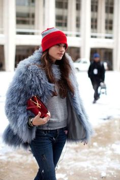 It's beanie season. Here's how to style the winter staple: pair it with luxe fur.