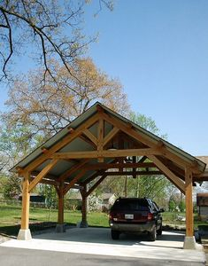 Bare minimum of a carport would be something like this with at least 2 or 3 sides designed to be a landscape feature part of the compound footprint provide interest privacy and/or shade