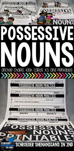 Possessive nouns task cards, scoot, anchor charts, printables, and more - differentiated for 2nd and 3rd grade