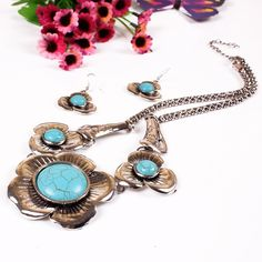 Fashion Turquoise Stone Flowers Design Jewelry Set Exaggeration Women Ladies Earrings Necklace