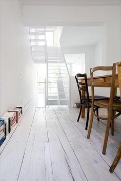 Wide plank white wood floors
