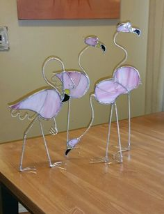 Stained glass Flamingos.