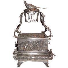 Antique Silver Singing Bird Music Box, circa mid 1800s - Incredible! from barkusfarm on Ruby Lane