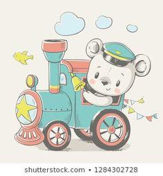 Vector cartoon illustration of a cute baby bear, driving the locomotive. cartoon Cartera de fotos e imágenes de stock de Helga Gavrilova Illustration Mignonne, Cute Illustration, Cartoon Illustrations, Baby Drawing, Drawing For Kids, Bear Cartoon, Cute Cartoon, Cartoon Wallpaper, Scrapbooking Image