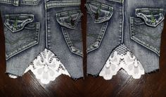 Petite-Fashionista: DIY - How To Add Lace To Denim Shorts