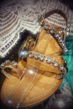 Leather sandals exe strass