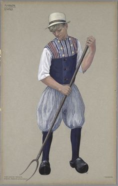 Marken, ca. 1920. Man aan het hooien. In Rompje, Middelde en Onderbroek. Op Marken hooiden de mannen in hun ondergoed. Over zijn hemd draag de man een mouwloos jak, het rompje. Daaroverheen ging de middelde.