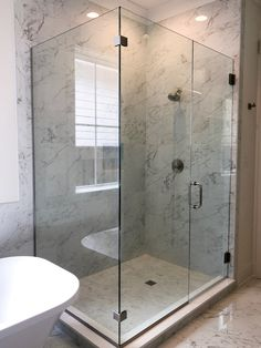 Beautiful Custom Heavy Glass Shower Door with Chrome Clips.