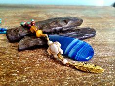 Boho Honu (turtle) pendant, blue agate turquoise hippie necklace