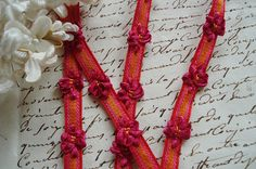 1y Vintage French Raspberry Pink Flowers Orange Red Rococo