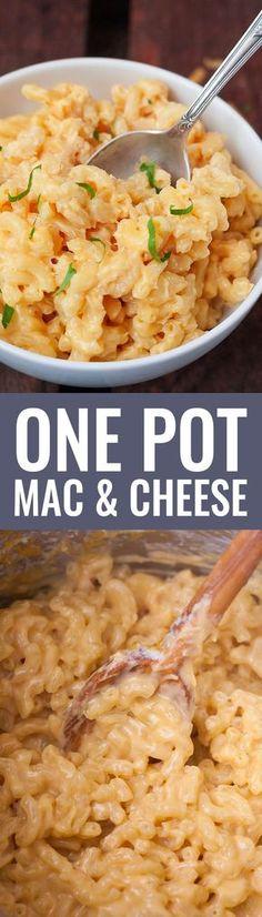 One Pot Mac & Cheese VORSICHT! Dieses Gericht ist zwar simpel zu machen, braucht aber viel Aufmerksamkeit. Man muss ständig umrühren.